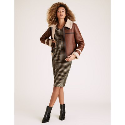 M&S Collection Jersey Dogtooth V-Neck Tailored Dress
