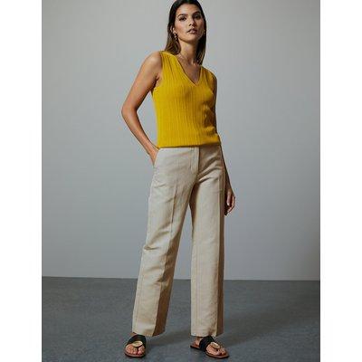 Autograph Cotton Rich Straight Leg Trousers with Linen