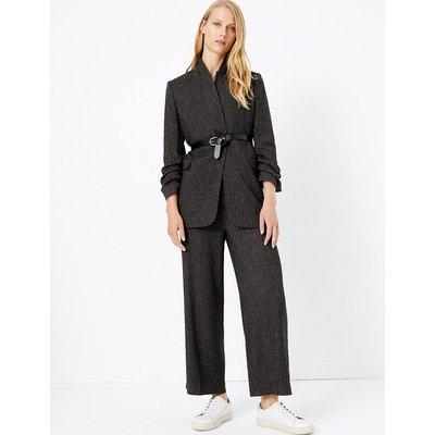 M&S Collection Herringbone Wide Leg High Waist Trousers