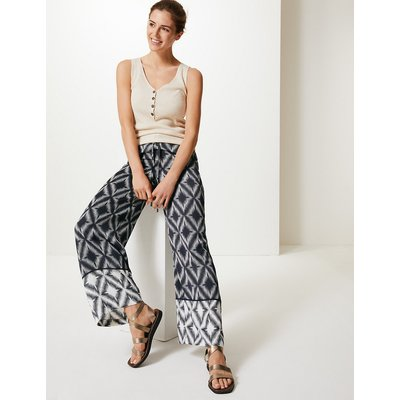 M&S Collection Diamond Print Wide Leg High Waist Trousers