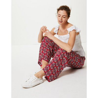 M&S Collection Floral Print Wide Leg High Waist Trousers