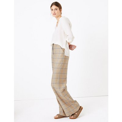 M&S Collection Linen Checked Wide Leg Trousers