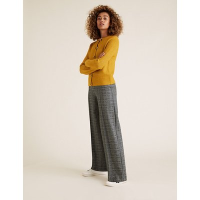 M&S Collection Jersey Textured Checked Wide Leg Trousers