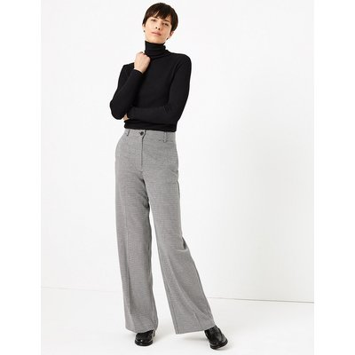 M&S Collection Checked Wide Leg Trousers