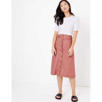 M&S Collection Linen Button Front Midi A-Line Skirt