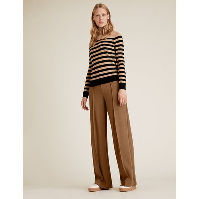 M&S Collection Jersey Textured Wide Leg Trousers