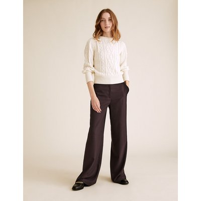 M&S Collection High Waisted Wide Leg Trousers