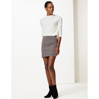 M&S Collection Dogtooth Checked Jersey A-Line Skirt