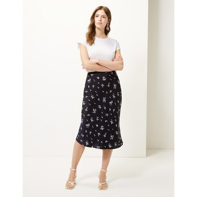 M&S Collection Floral Print Slip Midi Skirt