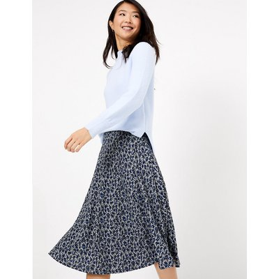 M&S Collection Jersey Floral Print Fit & Flare Midi Skirt