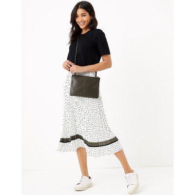 M&S Collection Polka Dot Pleated Midi Skirt