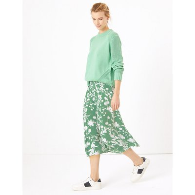 M&S Collection Crepe Floral Print A-Line Midi Skirt