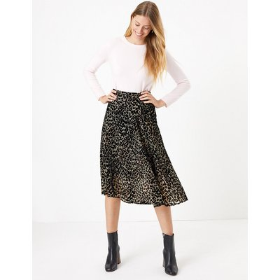 M&S Collection Velvet Animal Print Pleated Midi Skirt