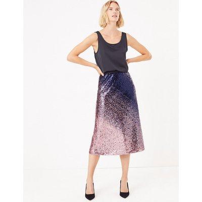 M&S Collection Ombre Sequin Slip Midi Skirt