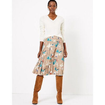 M&S Collection Jersey Printed Pleated Midi Skirt