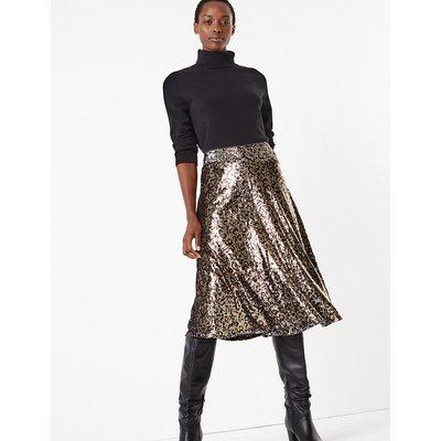M&S Collection Sequin Animal Print Slip Midi Skirt