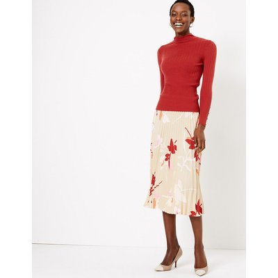 M&S Collection Printed Pleated Midi Skirt