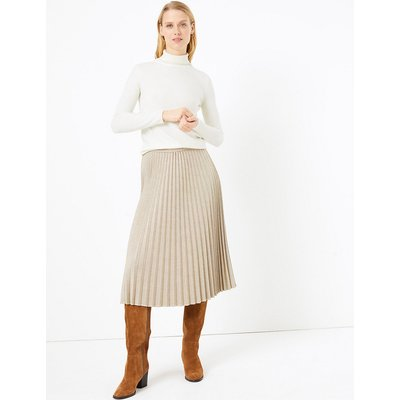 M&S Collection Checked Pleated Midi Skirt