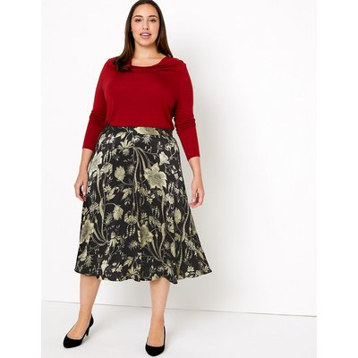 M&S Collection Floral Print Fit & Flare Midi Skirt