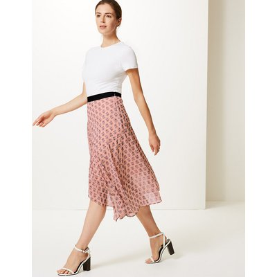 M&S Collection Floral Print Wrap Style Midi Skirt