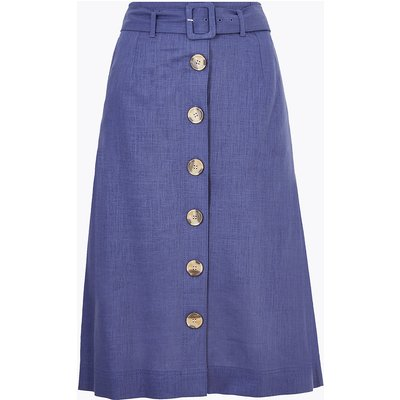 M&S Collection Linen Button Front Belted Midi A-Line Skirt