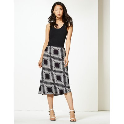 M&S Collection Diamond Print Slip Midi Skirt