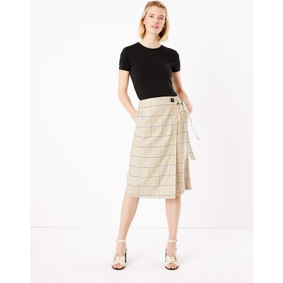 M&S Collection Linen Checked Midi Wrap Skirt