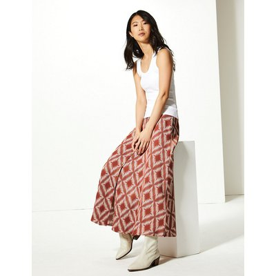 M&S Collection Diamond Print Button Detailed A-Line Maxi Skirt