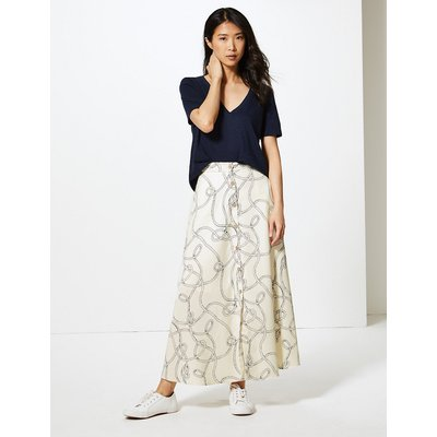 M&S Collection Printed Button Detailed A-Line Maxi Skirt