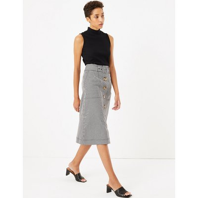 M&S Collection Gingham Button Front Midi A-Line Skirt