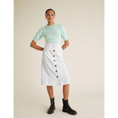 M&S Collection Button Front Midi A-Line Skirt