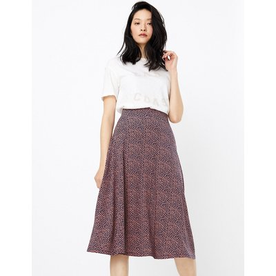 M&S Collection Jersey Spot Print Midi Skirt