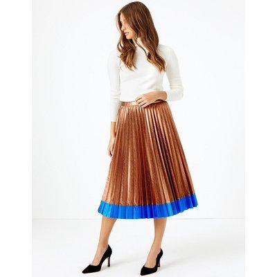 M&S Collection Metallic Pleated Midi Skirt