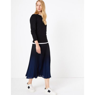 M&S Collection Pleated Ombre Midi Skirt