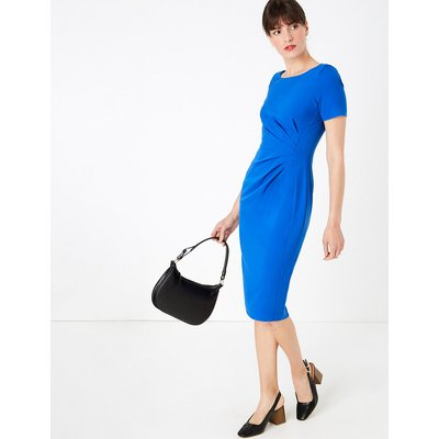 M&S Collection Ruched Front Knee Length Tailored Dress