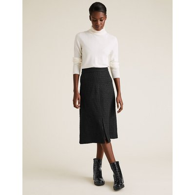 M&S Collection Wool Tweed Knee Length A-Line Skirt