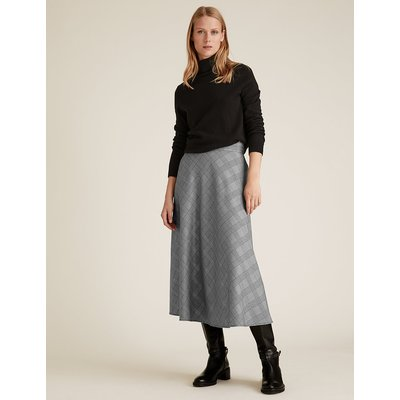 M&S Collection Checked Knee Length A-Line Skirt