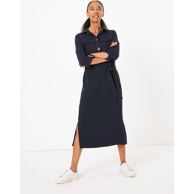 M&S Collection Crepe Belted Midi Shirt Dress