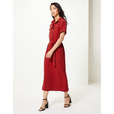 M&S Collection Crepe Tie Front Maxi Shirt Dress