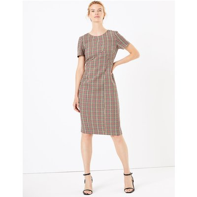 M&S Collection Checked Knee Length Bodycon Dress
