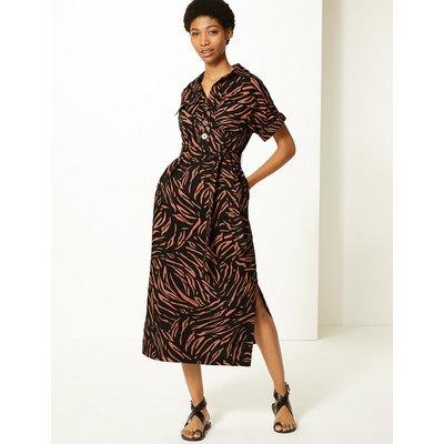 M&S Collection Linen Blend Animal Print Shirt Midi Dress