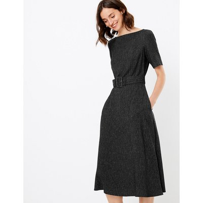 M&S Collection Belted Herringbone Fit & Flare Midi Dress