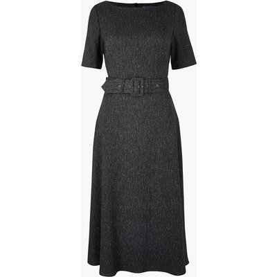 M&S Collection Herringbone Belted Fit & Flare Midi Dress