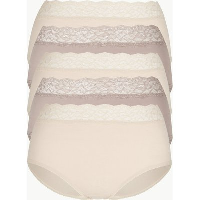 M&S Collection 5 Pack Lace High Waisted Full Briefs