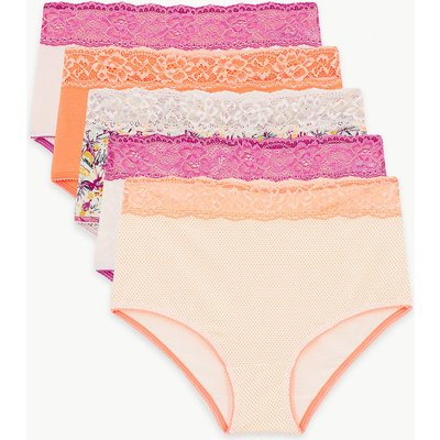 M&S Collection 5 Pack Cotton Rich Lace Full Briefs