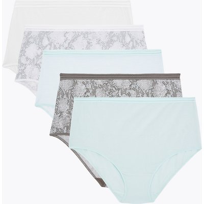 M&S Collection 5 Pack No VPL Modal Snake Print Full Briefs