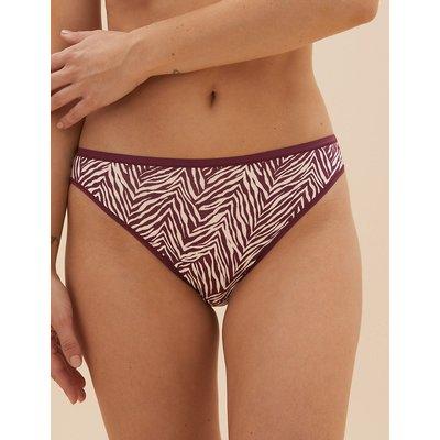 M&S Collection 5 Pack No VPL Zebra Print High Leg Knickers