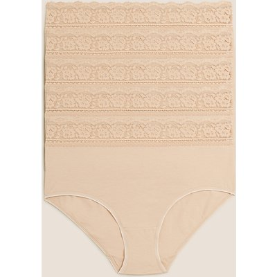 M&S Collection 5pk Cotton Lycra & Lace Full Briefs