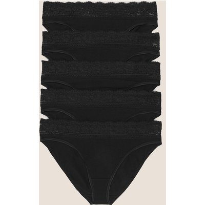 M&S Collection 5pk Cotton Lycra & Lace Knickers