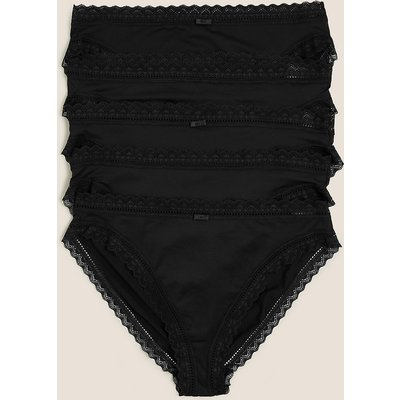 M&S Collection 5 Pack Microfibre & Lace High Leg Knickers